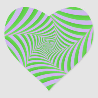 Green and Lilac Spiral Heart Sticker