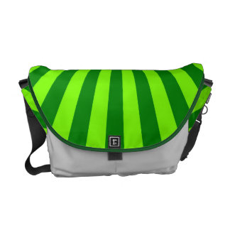 Green and Lime Funky Striped Abstract Art Messenger Bags