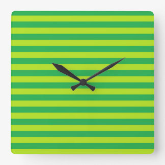 Green and Lime Green Stripes Square Wall Clock