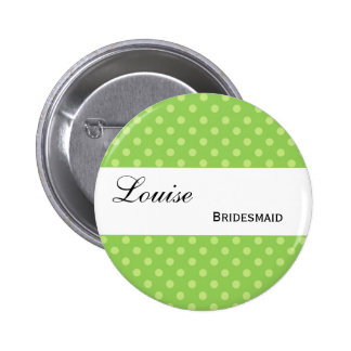 Green and Lime Polka Dots Wedding Collection 6 Cm Round Badge