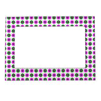 Green and magenta flowers frame frame magnets