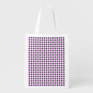 Green and magenta flowers reusable grocery bag