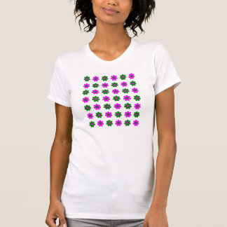 Green and magenta flowers t-shirt