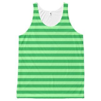 Green and Mint Green Stripes All-Over Print Tank Top
