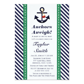 Green and Navy Anchor Nautical Baby Shower 13 Cm X 18 Cm Invitation Card