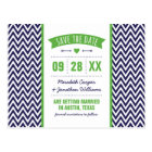 Green and Navy Blue Modern Chevron Save the Date Postcard