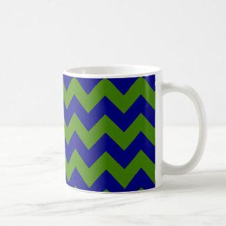 Green and Navy Blue Zigzag Coffee Mug