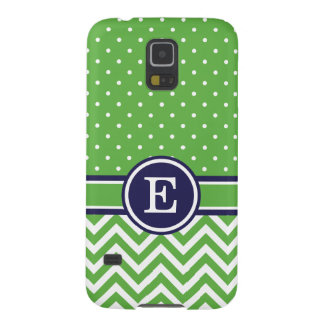 Green and Navy Preppy Chevron Dots Monogram Cases For Galaxy S5