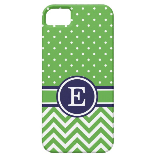 Green and Navy Preppy Chevron Dots Monogram iPhone 5 Covers