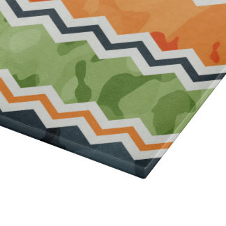 Green and Orange Camo Chevron Stripes Cutting Board