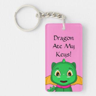 Green And Orange Chibi Dragon Double-Sided Rectangular Acrylic Key Ring