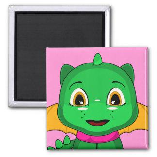 Green And Orange Chibi Dragon Magnet