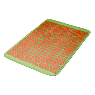 GREEN AND ORANGE CIRCLES BATH MAT