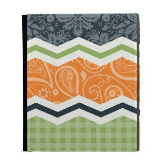 Green and Orange Country Chevron Stripes iPad Cases