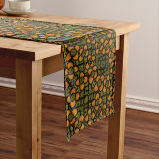 Green And Orange Floral Pattern Long Table Runner