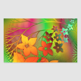 Green and Orange Flowers Design Rectangular Sticker