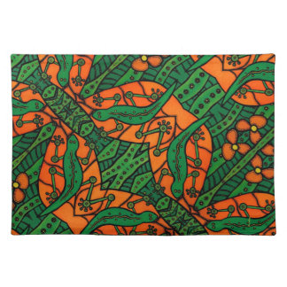Green And Orange Gecko Lizard Pattern Placemat