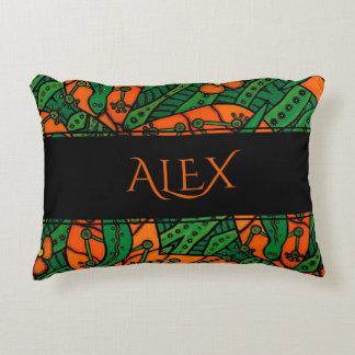 Green And Orange Gecko Lizard Personalized Name Decorative Cushion