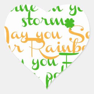 Green and orange Irish blessing with shamrocks Heart Sticker