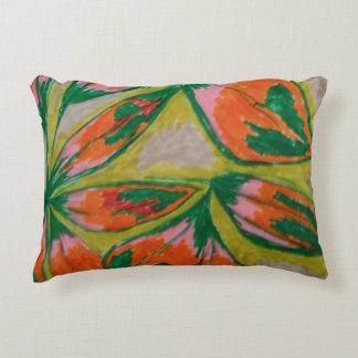 green and orange leaves decorative cushion