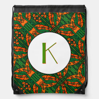 Green And Orange Lizard Gecko Pattern Monogrammed Drawstring Bag