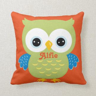 Green and Orange Owl Baby Keepsake Cushion
