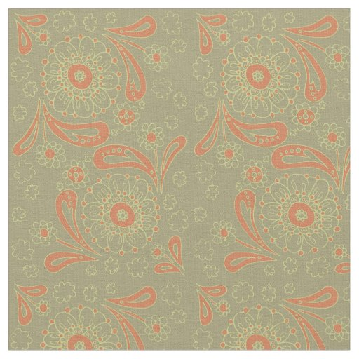 Green and Orange Paisley Mandala Floral Pattern Fabric