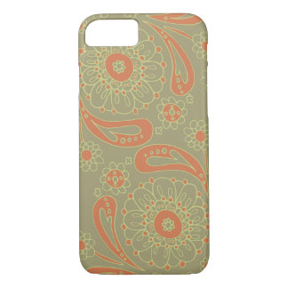 Green and Orange Paisley Mandala Floral Pattern iPhone 8/7 Case