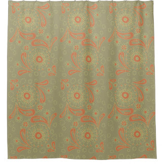 Green and Orange Paisley Mandala Floral Pattern Shower Curtain
