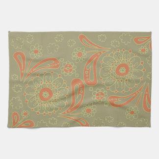 Green and Orange Paisley Mandala Floral Pattern Tea Towel