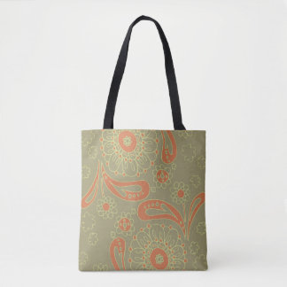 Green and Orange Paisley Mandala Floral Pattern Tote Bag
