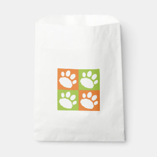 Green and Orange Paw Print Checkerboard Doggie Bag