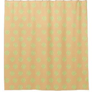 Green and Orange Polka Dot Pattern Shower Curtain