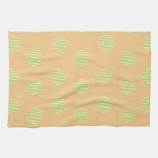Green and Orange Polka Dot Pattern Tea Towel
