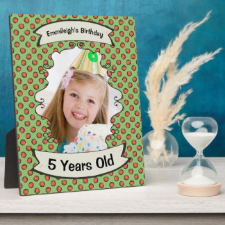 Green and Orange Polka Dots Birthday Photo Plaque