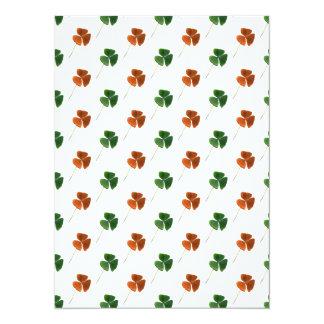 "Green and Orange Shamrock Pattern 5.5"" X 7.5"" Invitation Card"