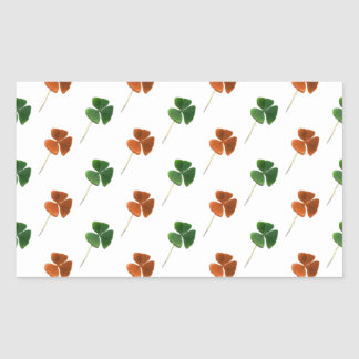 Green and Orange Shamrock Pattern Rectangular Sticker
