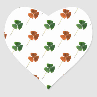 Green and Orange Shamrock Pattern Heart Stickers