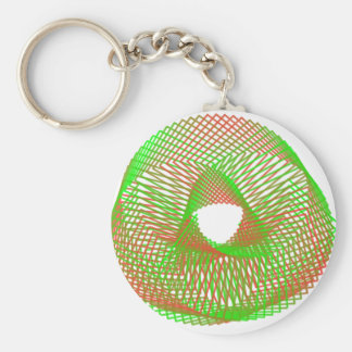 Green and orange spirograph basic round button key ring