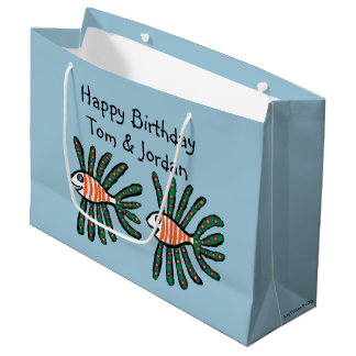 Green and Orange Twin Fin Fish Large Gift Bag