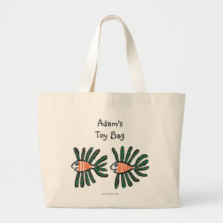 Green and Orange Twin Fin Fish Large Tote Bag