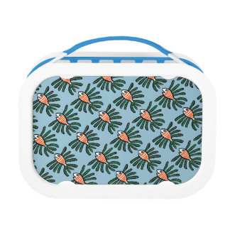 Green and Orange Twin Fin Fish Lunch Box