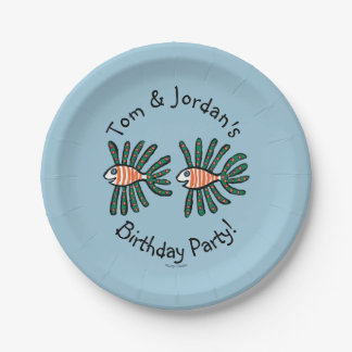 Green and Orange Twin Fin Fish Paper Plate