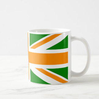 Green and Orange Union Jack Basic White Mug