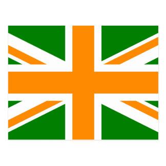Green and Orange Union Jack Postcard