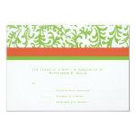 Green and Orange Wedding RSVP Invite