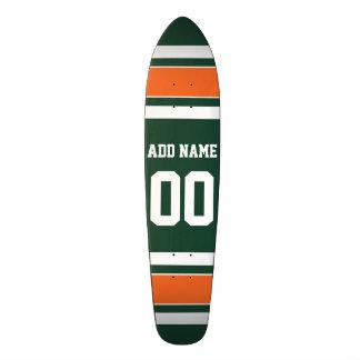 Green and Orange White Stripes Custom Name Number Skateboard Deck