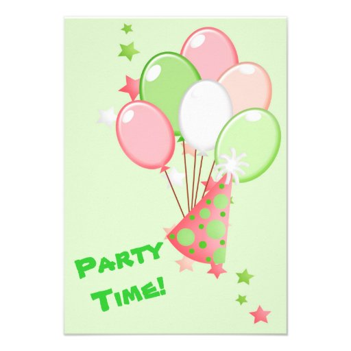 Green and Pink Birthday Balloons Party Invitations