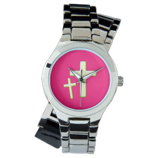 Green And Pink Cross Design Watch