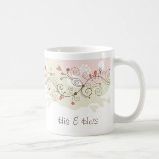 Green and Pink Curls Valentines Basic White Mug